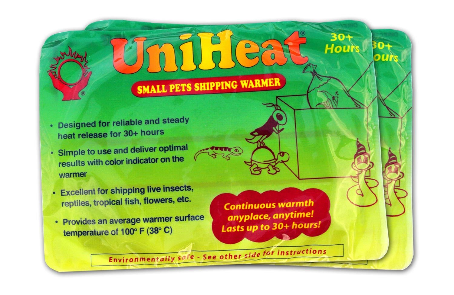 Uniheat Shipping Warmer 30+ Hours, 8 PACK >PLUS!< 1 - 10''x18'' Shipping Bags, 30+ Hour Warmth for Shipping Live Corals, Small Pets, Fish, Insects, Reptiles, Etc...AND Shipping Bags to Hold in the Heat