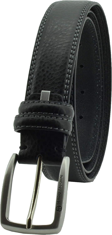 Sergio Tacchini, Cinturón de hombre cuero genuino, hebilla rectangular libre de níquel, ajustable