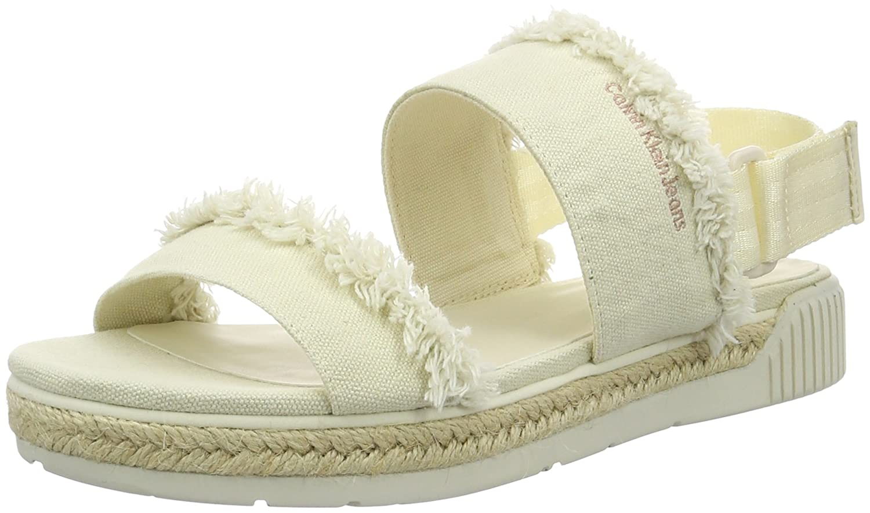 Calvin Klein Jeans Lael Fringe Canvas, Peep Toe Pumps Femme, Blanc Cassé (Off White), 38 EU