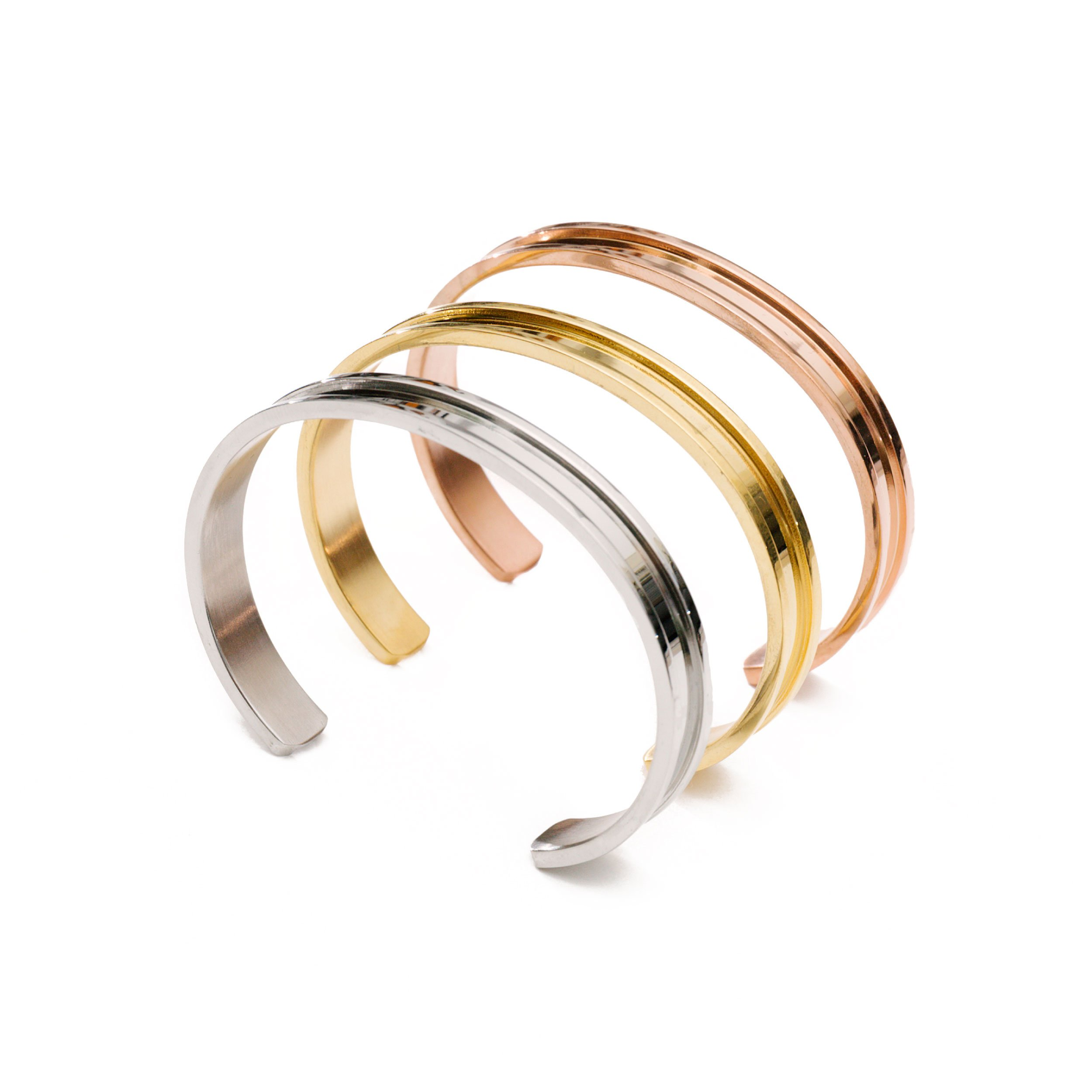 Hair Tie Bracelet by Lucky Lady Collections | Gold, Silver and Rose Gold Grooved Cuff Bangles (3 Pack) | Women's Fashion Bracelets for Comfort and Style | No-Show Hair Elastic Bangles for Girls