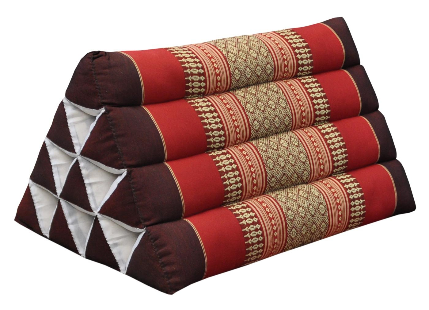 Thai triangular cushion, burgundy/red, relaxation, beach, kapok, made in Thailand. (82300) by Wilai GmbH