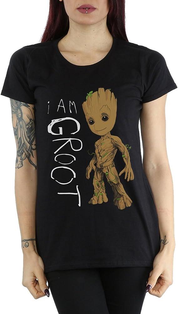 XL Guardians of Galaxy 2 Damen T-Shirt schwarz I am Groot Scribbles