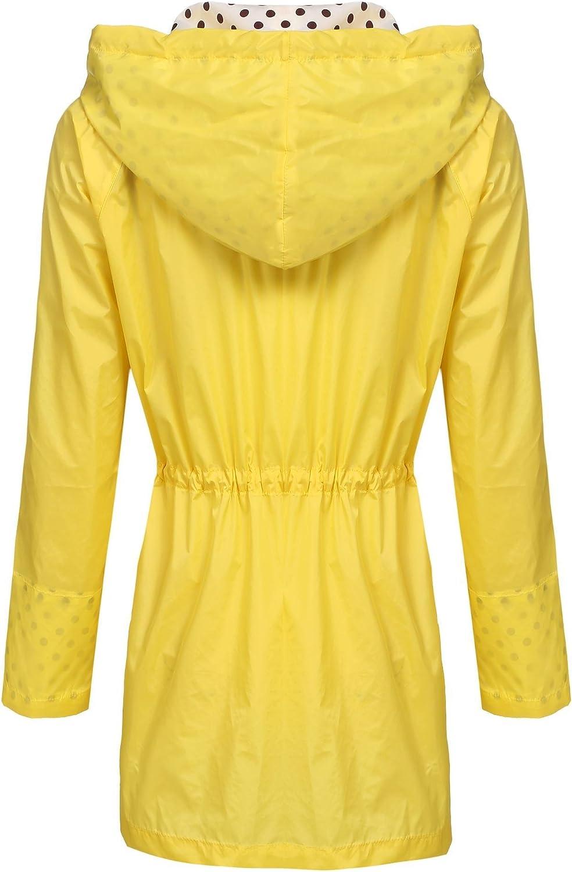 Unibelle Regenjacke Damen Regenmantel Wasserdicht Windjacke Leichter Regenponcho Regencape Regenbekleidung Atmungsaktiv Windbreaker mit Kapuze