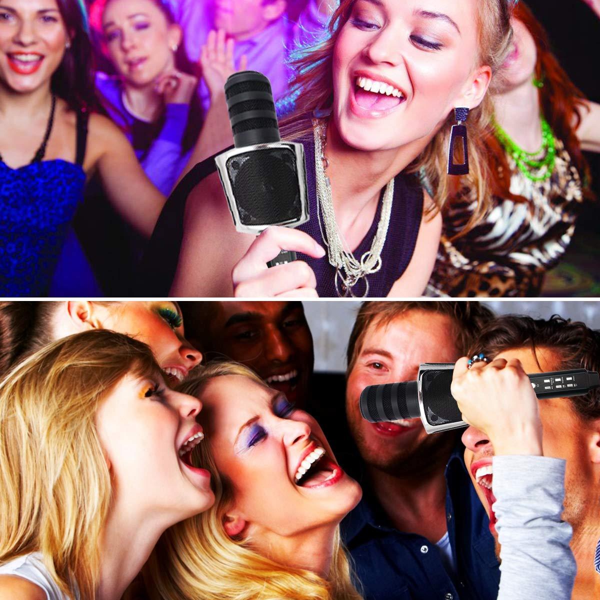 SYOSIN 3 en 1 Micr/ófono Port/átil Karaoke Micr/ófono Inal/ámbrico Bluetooth con Altavoz Compatible con iPad iPhone Smartphone Android PC AUX