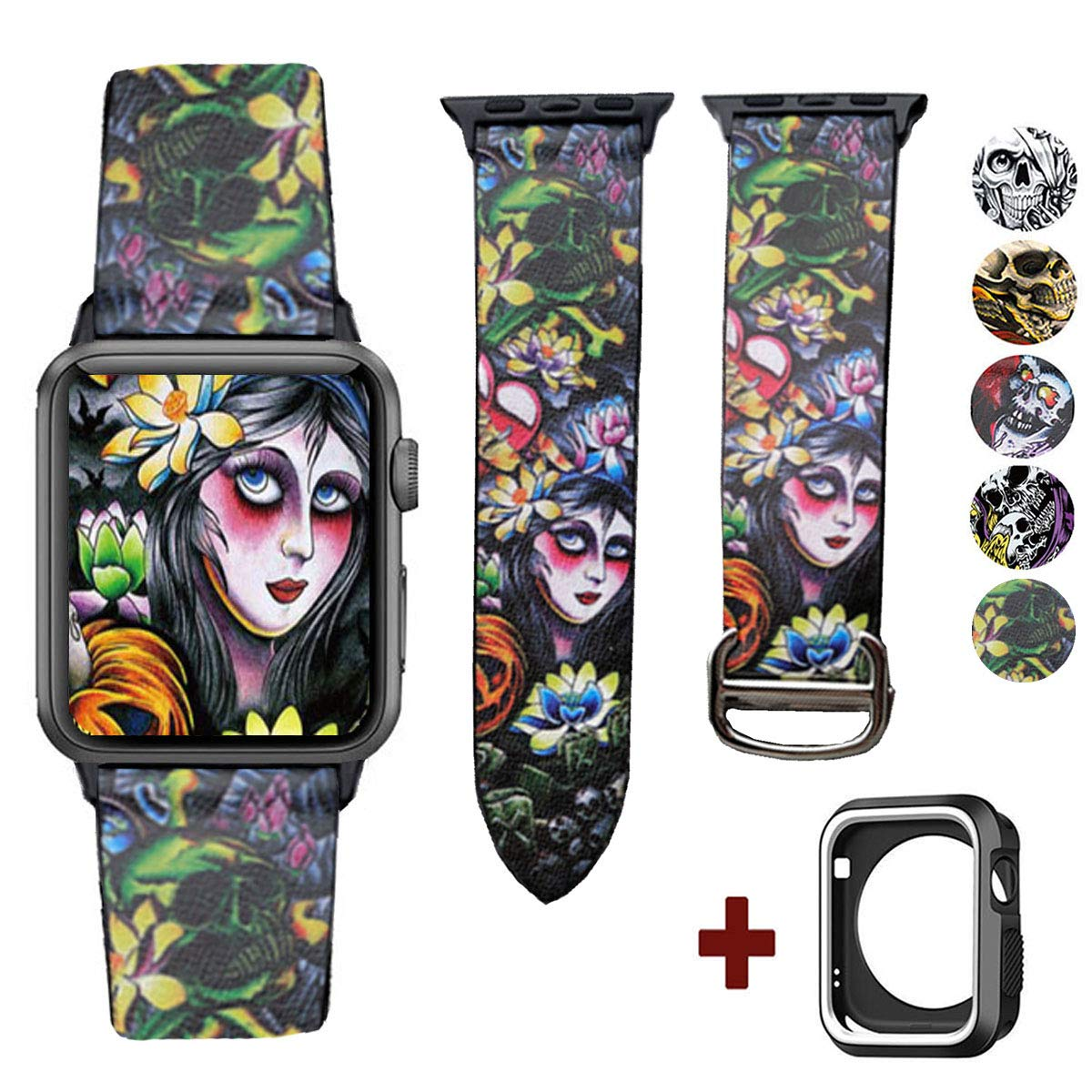 DELELE Compatible for Apple Watch Band 38mm 42mm, High Grade Creative Print Leather Replacement Strap with Unique Cartier Buckle for iWatch Apple Watch Series 3/2 / 1 Women Men (Skull-Forest, 38mm)