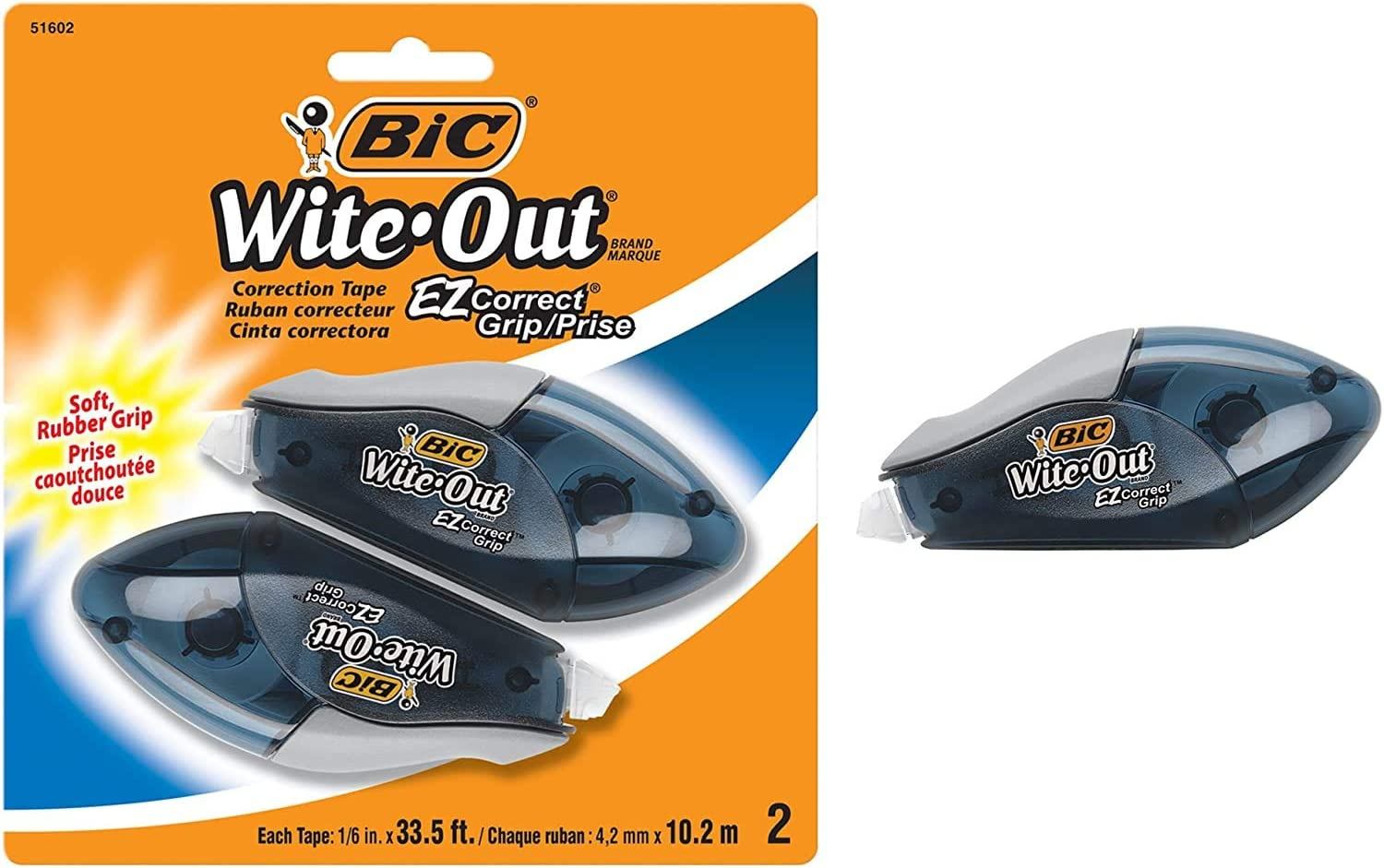 BIC ВIС Witе-Оut Вrаnd ЕZ Соrrect Grip Correction Tape 2-Count White