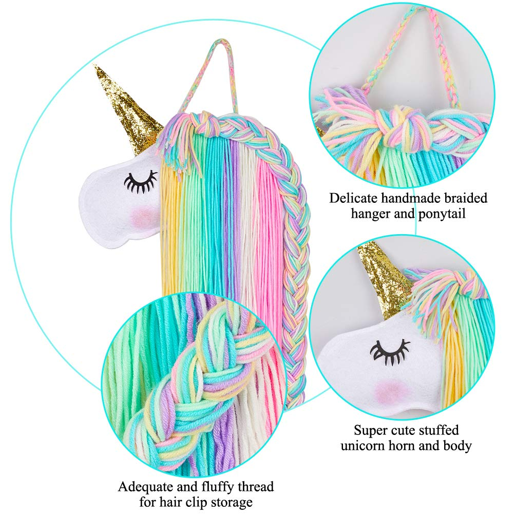 Basumee Unicorn Hair Bow Holder for Girls Wall Hanging Decor and Baby Hair Clip Hanger Organizer Pink White Unicorn
