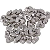 CNBTR Silver European Standard 30 Series Aluminum Slot Carbon Steel Half Round Roll In Sliding T Slot Nut with M5 Thread Pack of 50