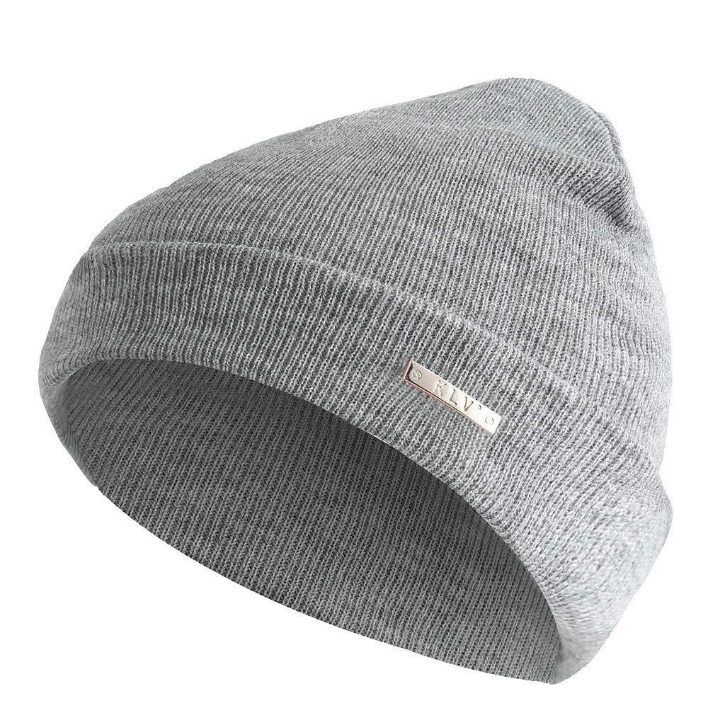 Fashion Hats for Women Men,Winter Warm Solid Baggy Weave Crochet Wool Knit Ski Beanie Hat Skull Caps Grey