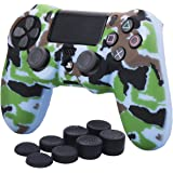 YoRHa Water Transfer Printing Camouflage Silicone Cover Skin Case for Sony PS4/slim/Pro Dualshock 4 controller x 1(navy) With Pro thumb grips x 8