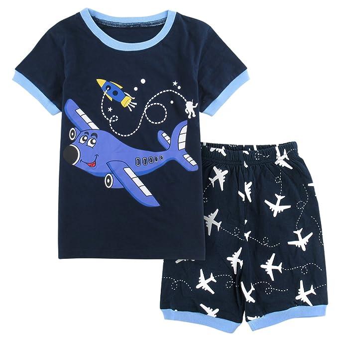 Mombebe Infantil Pijama Niño Avión Manga Corta Verano Ropa De Dormir (Avión, 2 años