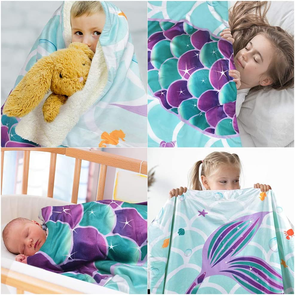 WERNNSAI Manta Sirena 125 x 150cm Sherpa Manta de lana Sobrecama Manta de Felpa para Ni/ñas Regalos de Cumplea/ños Baby Shower Mantas para cama Sof/á Dormitorio Vivero