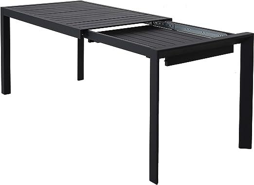 Ambientehome Java Exclusiv 50216 - Mesa Extensible de Aluminio para balcón (127-180 x 77 cm x 71 cm), Color Negro: Amazon.es: Jardín