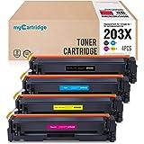 MyCartridge compatibles HP 203X CF540X - CF543X Cartuchos de tóner para HP Color Laserjet Pro M254nw M254dw HP Color Laserjet Pro MFP M280nw M281fdn M281fdw (Negro/Cian/Magenta/Amarillo, 4 paquetes)