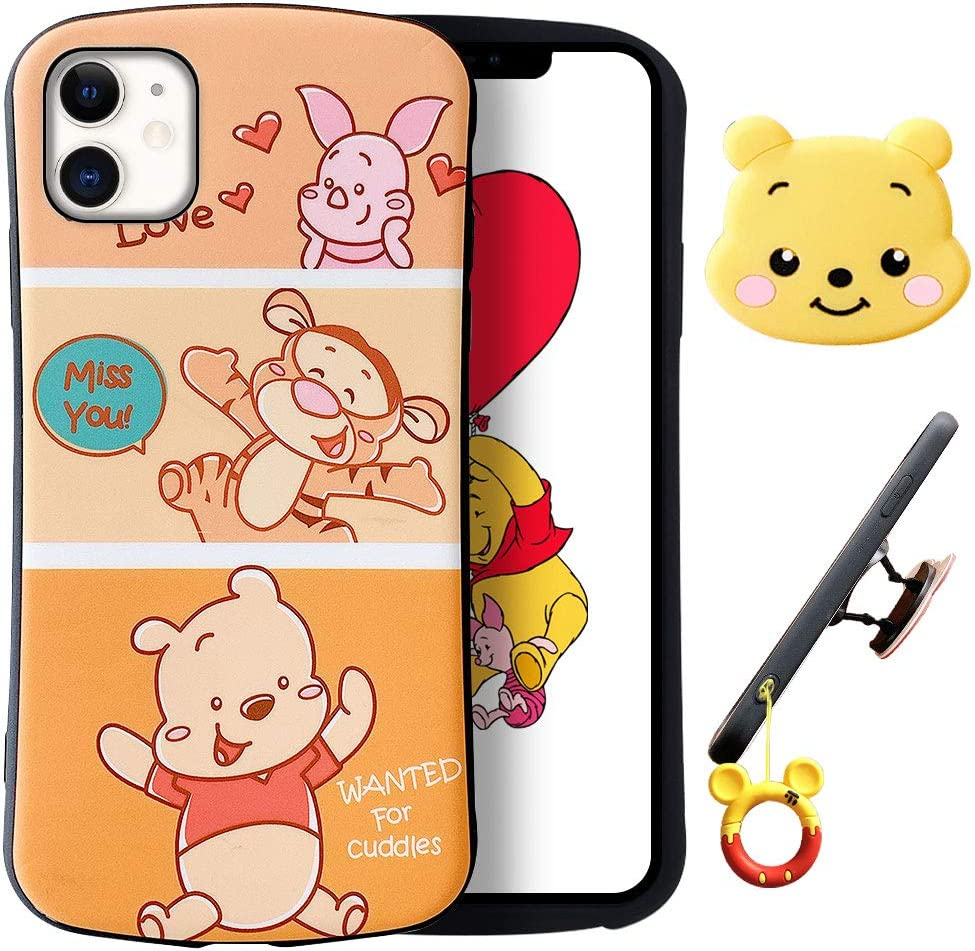 """XGrand Disney Collection Winnie Pooh Cute Cartoon Case for iPhone 11 6.1"""", Style Pattern Small Waist Design Holder Stand Shockproof Protective Cover for Kids Teens Girls Boys(iPhone 11)"""