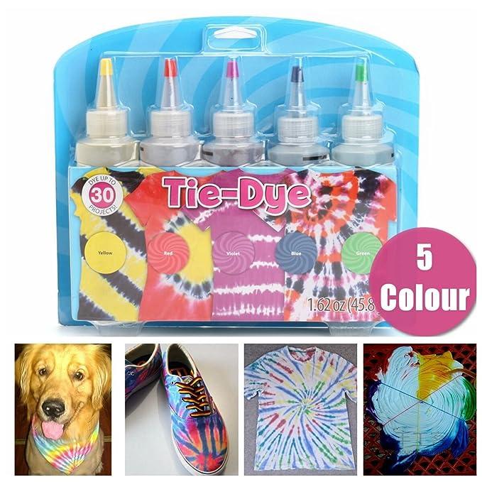 63aa7c9f Amazon.com: Essort Tie Dye Kit, 5 Colors Fabric Textile Shirts Paints,  Vibrant Bright Colors Tie Dye Designs Clothing, Permanent Paint for Clothes  Shirt ...