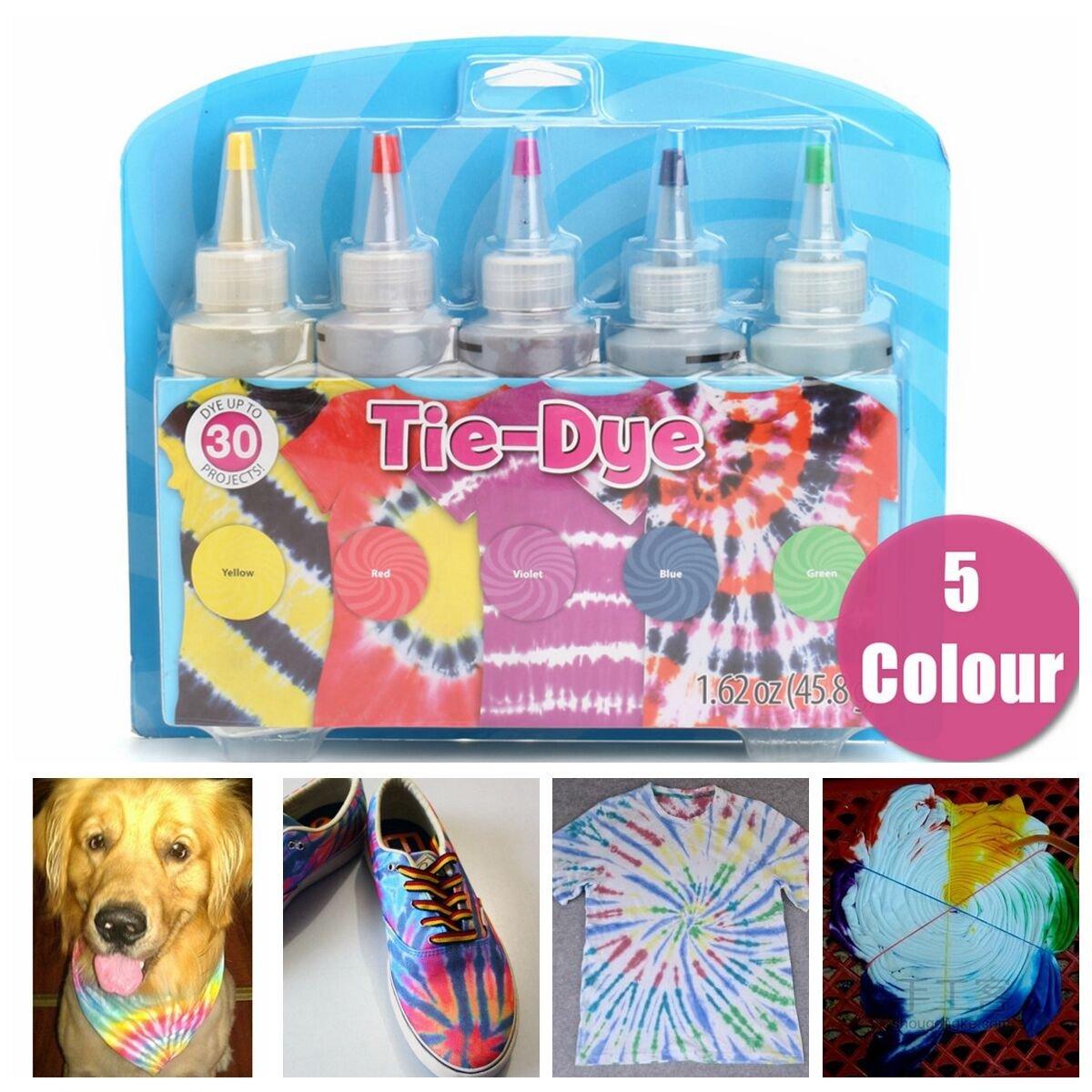 Essort Fabric Textile Paints Tie Dye Kit Vibrant Fabric Textile Permanent Paint Colours, Tie-Dye Kit