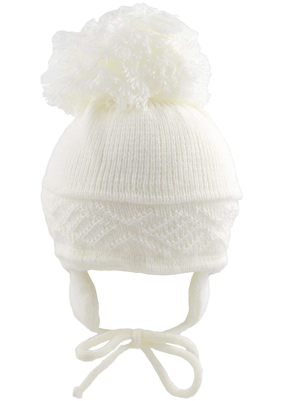 Hat - Gorro unisex para bebé , para niñ a y niñ o, diseñ o con pompó n rosa rosa Talla:0-3 Meses para niña y niño diseño con pompón rosa rosa Talla:0-3 Meses Pesci Kids CL4202