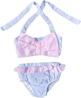 MONOBLANKS Cute Baby Girls Ruffle Seersucker Swimwear Two Piece Bikini Swimsuit Can be Monogrammed