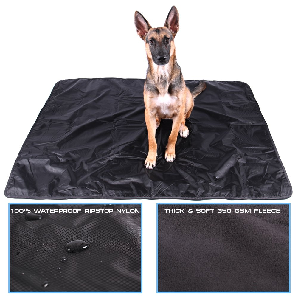 Max and Neo Waterproof Dog Blanket - One Side Soft Fleece, One Side Ripstop Waterproof Nylon - We Donate a Blanket to a Dog Rescue for Every Blanket Sold (LARGE, BLACK/GRAY)
