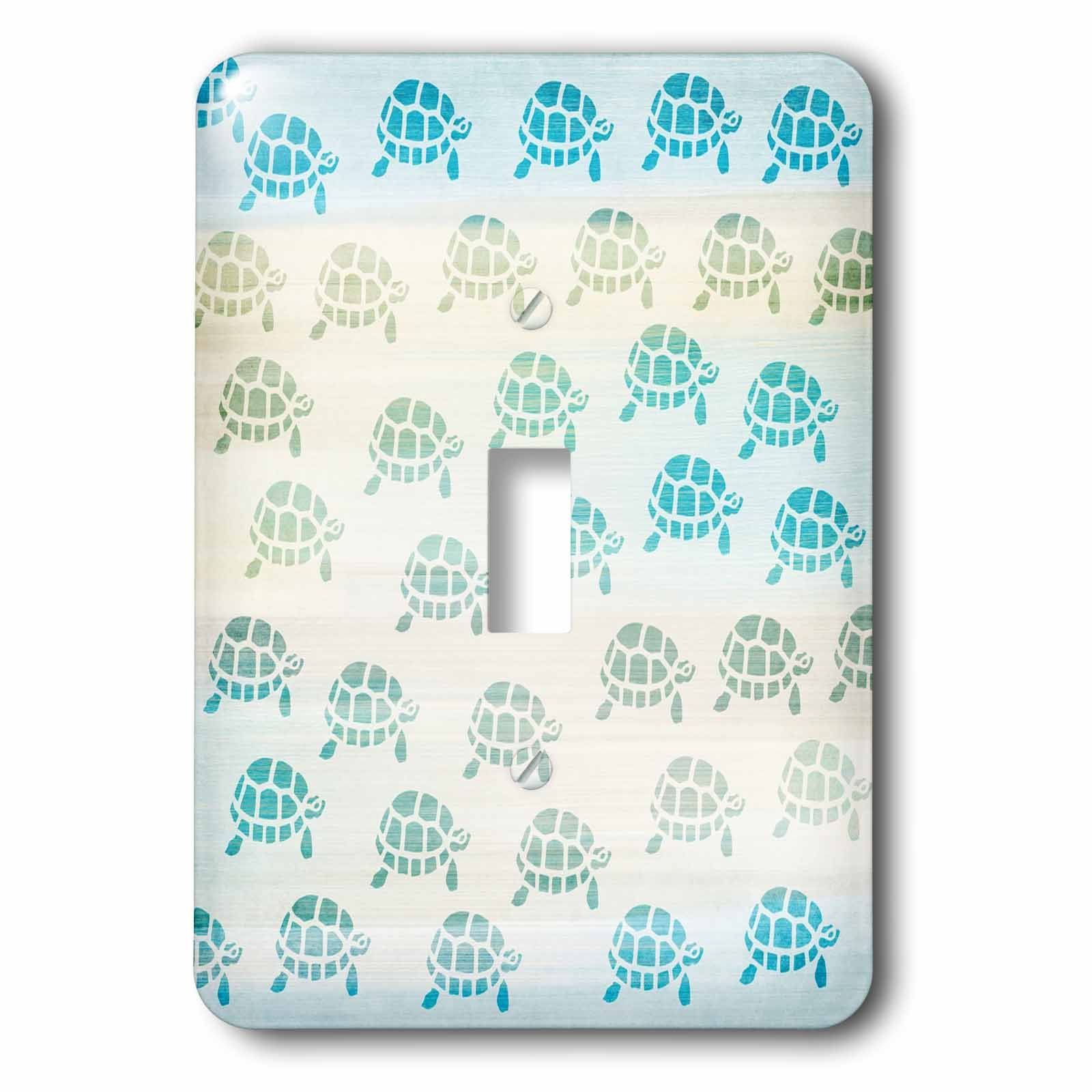 3dRose lsp_152073_1 Little Aqua Turtles Animal Art Light Switch Cover