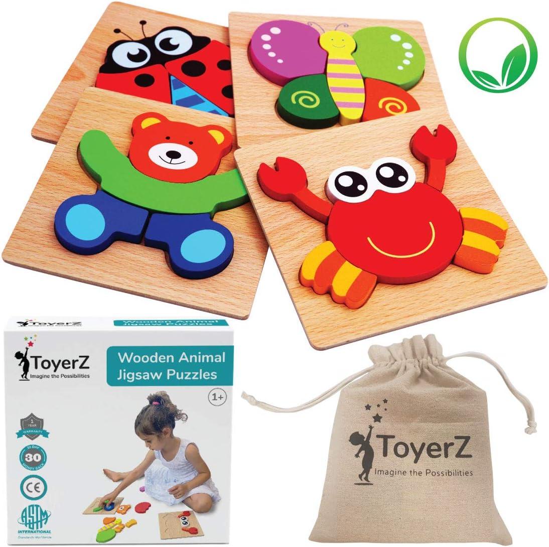 ToyerZ Rompecabezas de Animales, Hecho de Madera para Niños Pequeños, Juguetes Educativos para Niñas y Niños de 1 2 3 años, Puzzle de Madera Montessori para Bebes Pequeños en Una Caja de Regalo