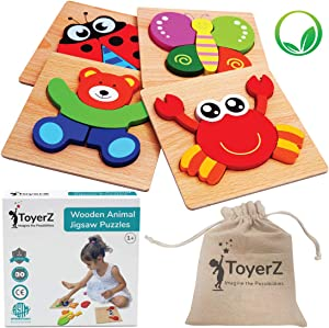 ToyerZ Wooden Puzzles for Toddlers 1-3 , Educational Toy for 1 2 3 Years old Boys & Girls Baby Infant , 4 Jigsaw Animal Shapes in an Eco Friendly Gift Box. Colourful STEM Montessori Kid toys Learning