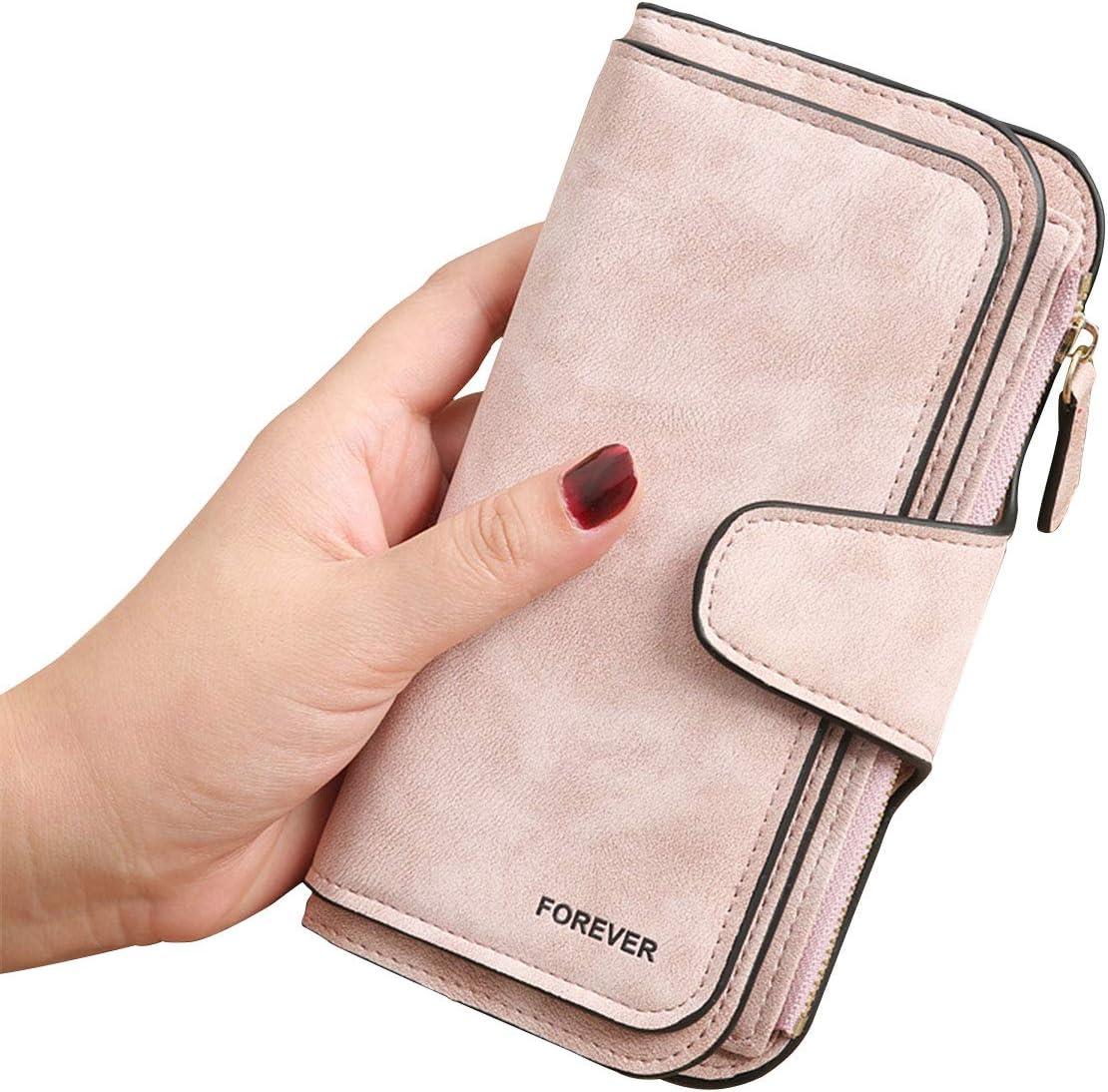 Gran Capacidad Cartera de Cuero de Mujer, Bloqueo RFID Monedero de Piel para Señora, Larga Billetera de Mujer con Bolsillo de Cremallera y Correas de Muñeca (Rosa)