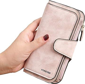 Oferta amazon: 3 PCS Gran Capacidad Cartera de Cuero de Mujer, Bloqueo RFID Monedero de Piel para Señora, Larga Billetera de Mujer con Bolsillo de Cremallera y Correas de Muñeca (Rosa)