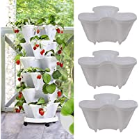 Stand Stacking Planters Strawberry Planting Pots, Stackable Herb, Garden Planter Set, Strawberry and Herb Garden Planter…