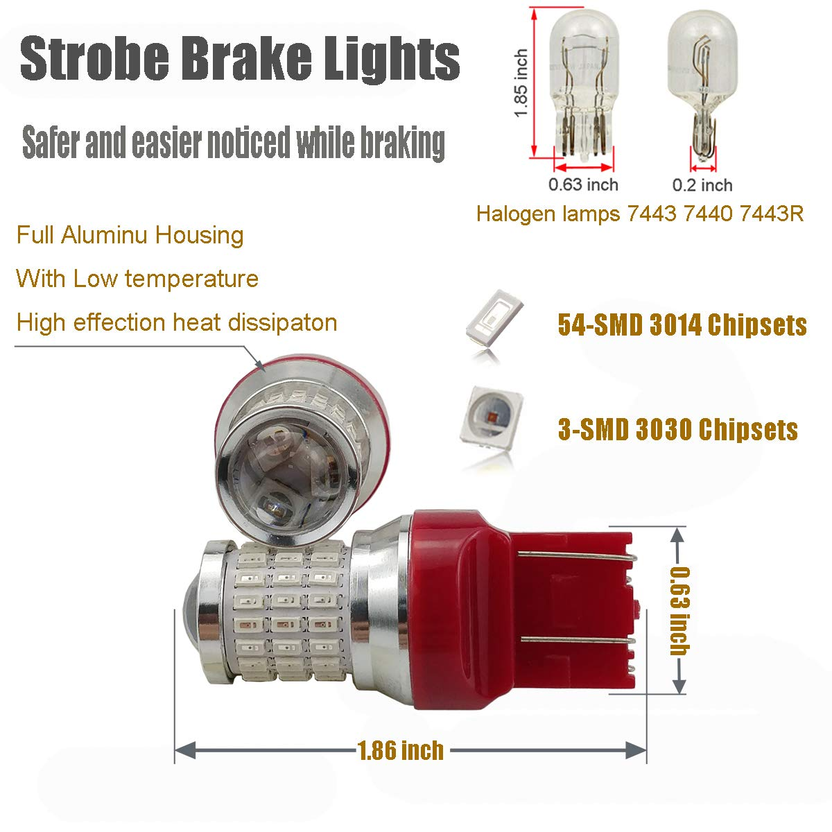 Brilliant Red iBrightstar Newest 9-30V Flashing Strobe Blinking Brake Lights 912 921 W16W T15 906 LED Bulbs with Projector replacement for Tail 3rd Brake Stop Lights