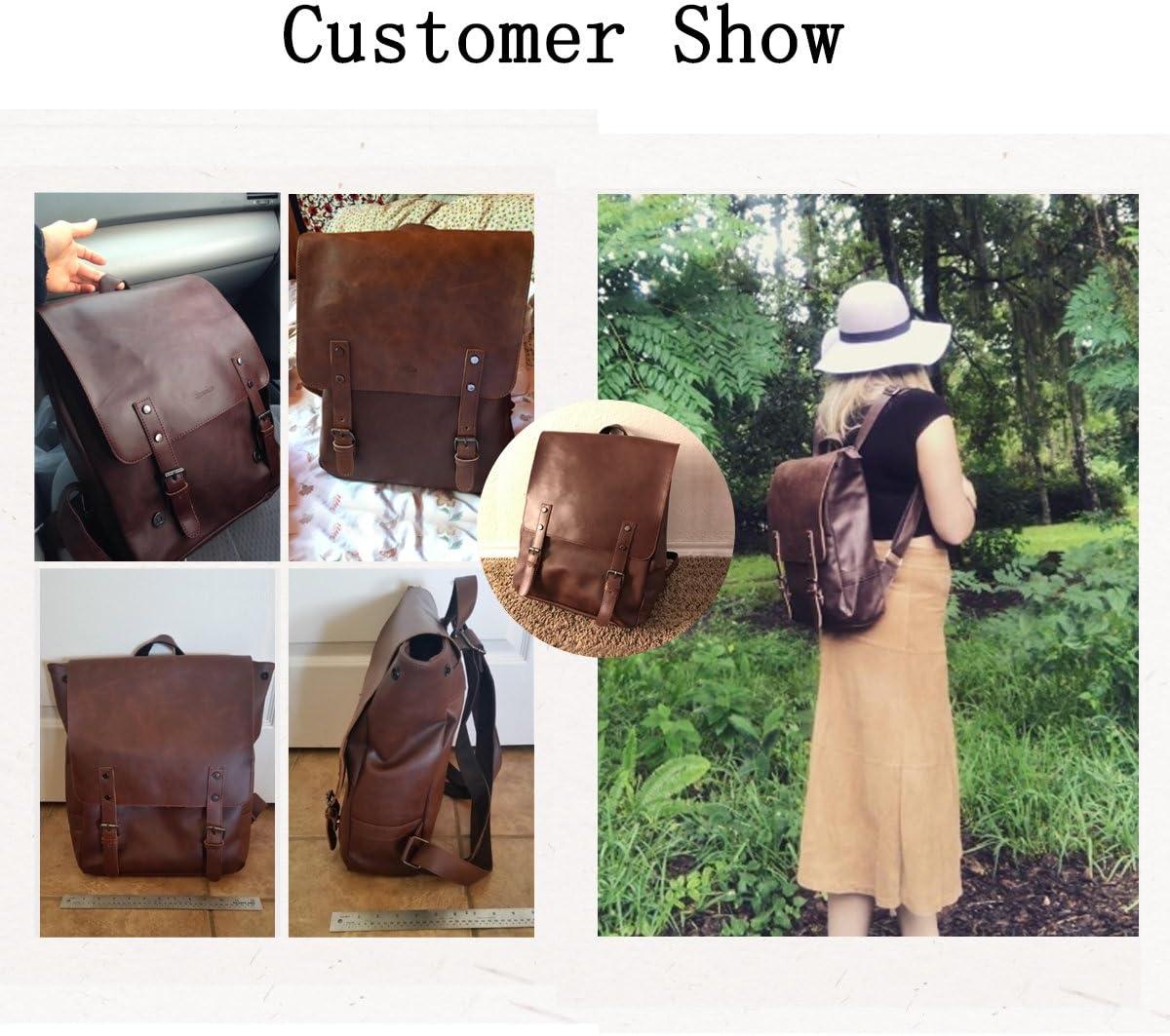 ZEBELLA Womens Leather Backpack Vintage Brown Travel Daypack College Bookbag-Light Brown