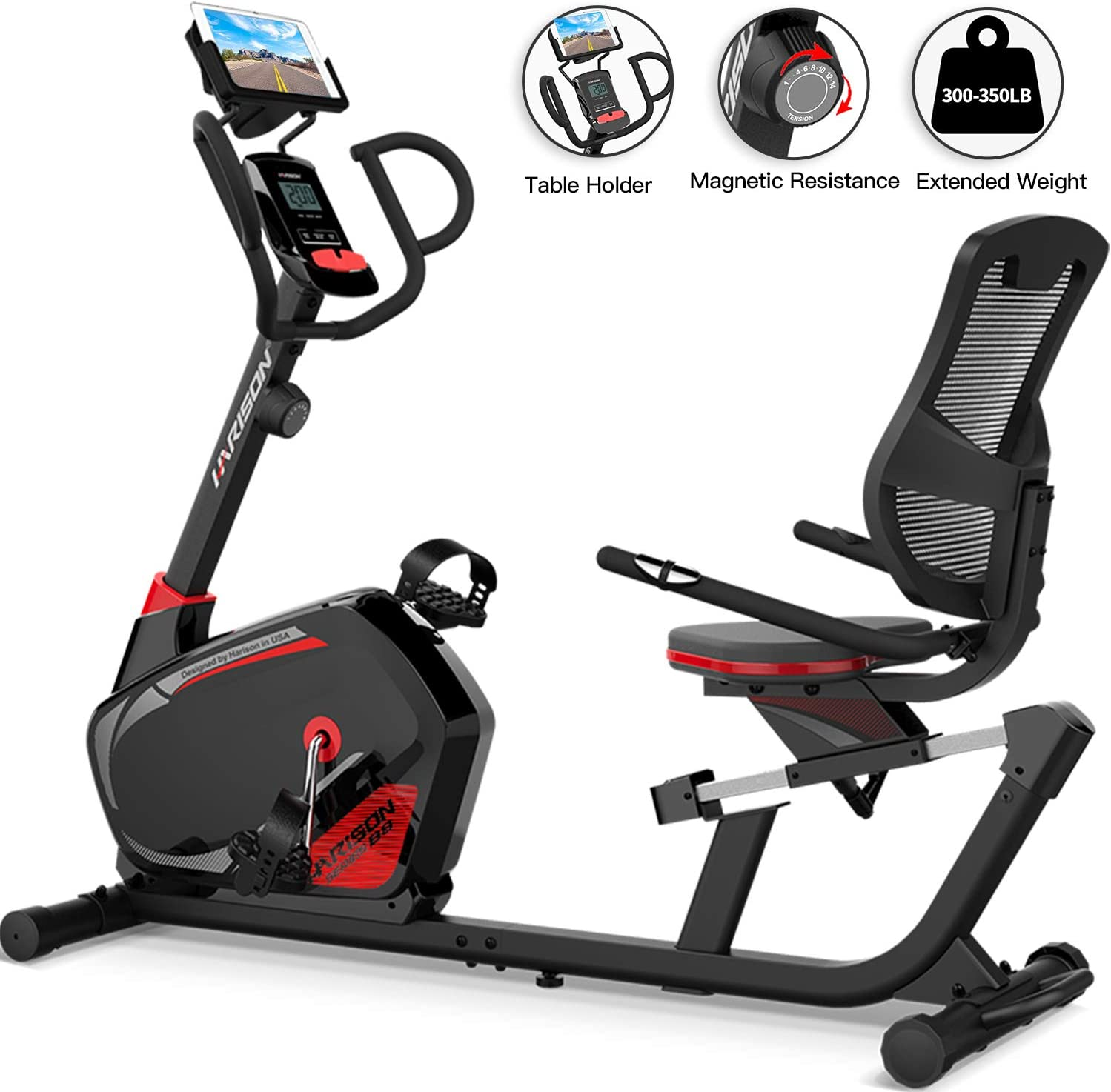 HARISON Recumbent Exercise Bike Stationary with 14 Level Magnetic Resistance, Tablet Holder, RPM, Wide Seat, and Pulse Rate Monitoring