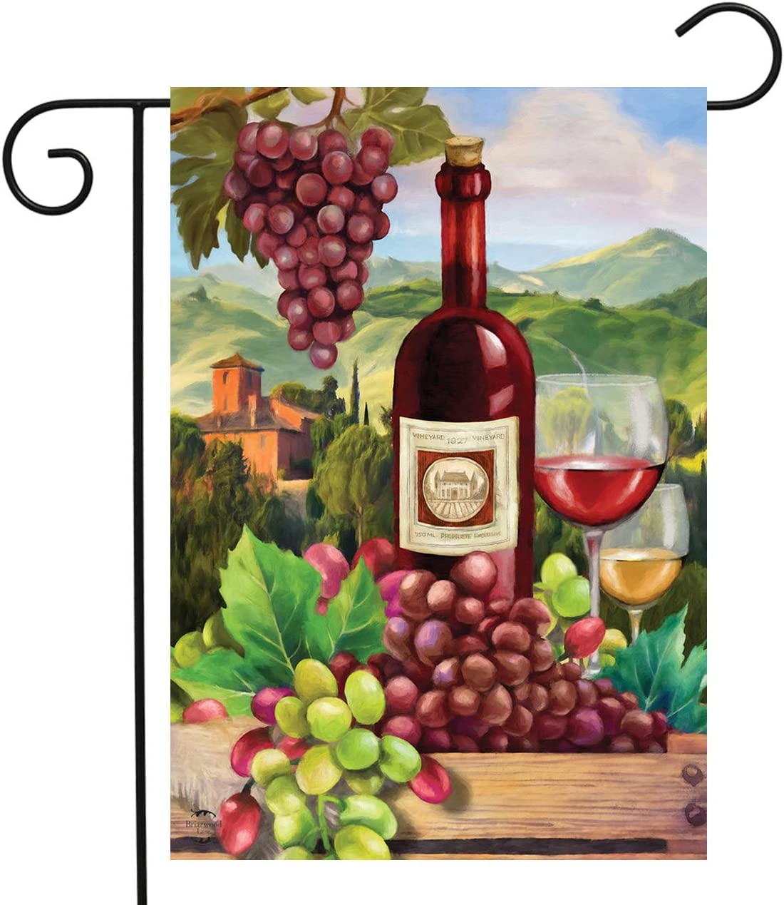 "Briarwood Lane Wine Country Summer Garden Flag Vineyard Grapes 12.5"" x 18"""