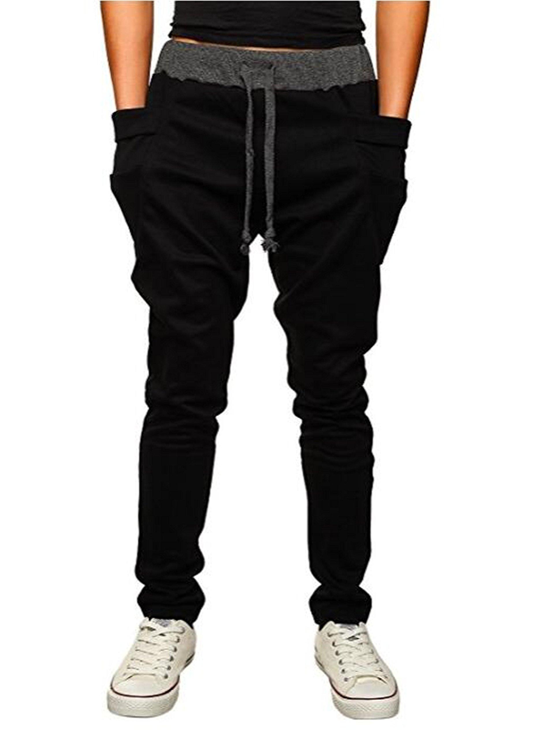 OBT Boy's Black Slim Casual Cotton Comfy Skinny Running Jogger Pants 10
