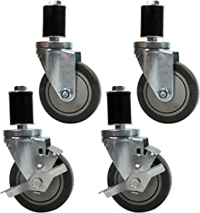 "Lehom Work Table Wheels Expanding Stem Casters 4 inch 1200LBS 360° Swivel Wheel Set for Commercial Kitchen Prep Tables, fit 1-1/2"" to1-13/20"" Diameter Legs, 2 Wheels with Brakes 2 Without Brakes"