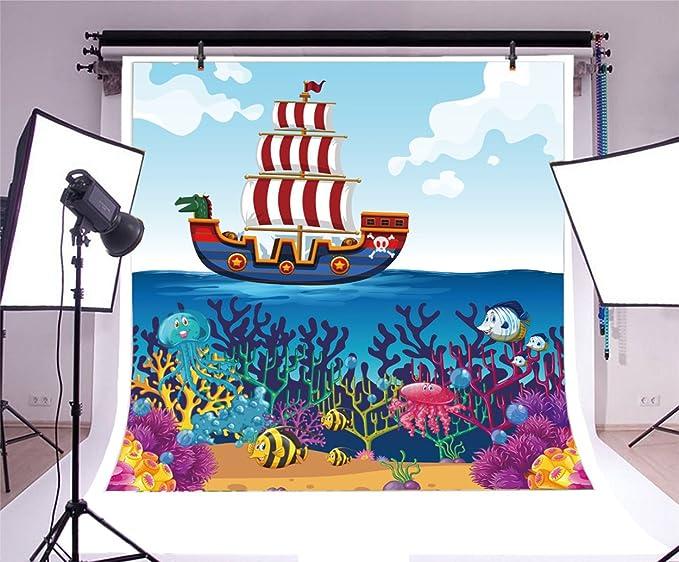 5x5FT Vinyl Photography Backdrop,Kids,Couple Animals Sailing Ship Photoshoot Props Photo Background Studio Prop