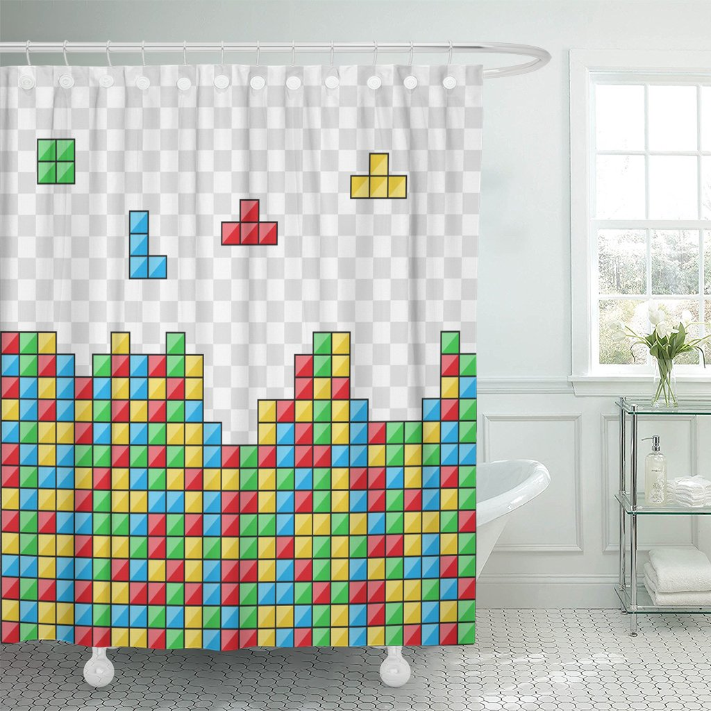 TOMPOP Shower Curtain Blue Tetris Color Blocks Video Game Red Abstract Black Waterproof Polyester Fabric 72 x 72 Inches Set with Hooks
