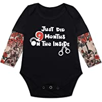 Eunikroko Just Did 9 Months on The Inside Tattoo Sleeves Baby Onesie Funny Romper for Baby Boys and Girls Infant Jumpsuit Jail Theme Outfits Cotton Onesie Black