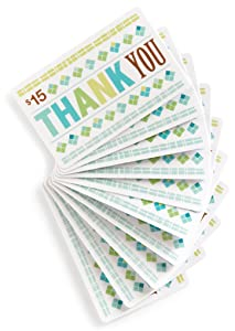 Amazon.com $15 Gift Cards, Pack of 10 (Thank You Card Design)