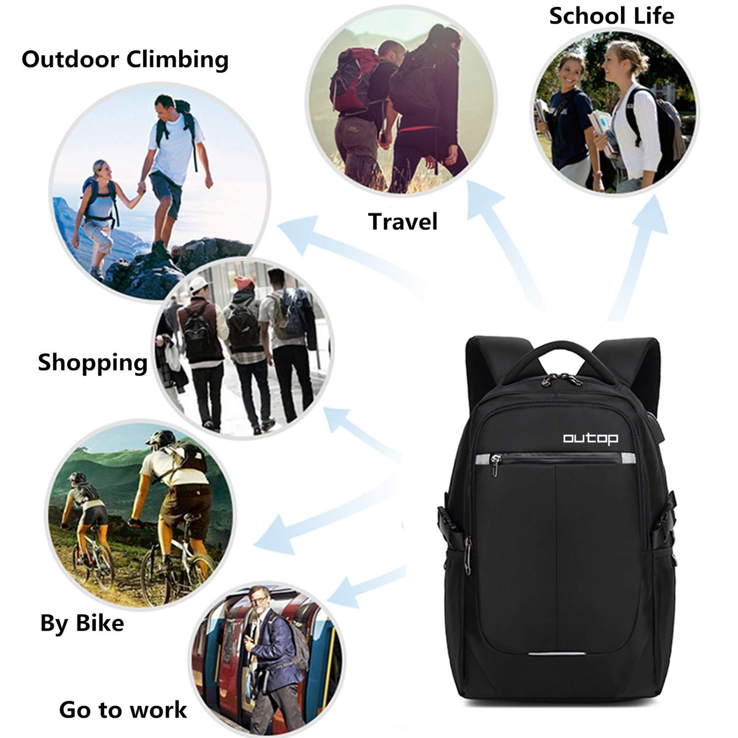 Slim Business Backpack USB Charging Port Headphone Interface 15.6-17 Notebook OUTOP Travel Computer Bag Women /& Men Laptop Backpack Black Anti Theft Water Resistant College