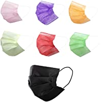 70 Pcs Multicolored Disposable Face Masks | 3-ply Breathable Non-Woven Mouth Cover for Personal | 7 Color 70 Packs Masks…