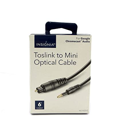 Insignia - 6 Toslink to mini Toslink Chromecast Audio Optical Cable - Black NS-
