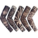 Yoogeer Temporary Fake Slip On Tattoo Arm Sleeve Cycling Basketball Sun Block Sleevelet for Men and Women (Unisex Dark Set, Pack of 5)