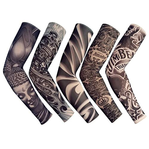 Temporary Fake Slip On Tattoo Arm Sleeve Cycling Basketball Sun Block Sleevelet For Men And Women