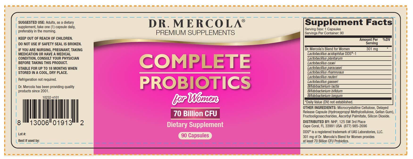 Dr. Mercola Complete Probiotics for Women - 180 caps - Customized Probiotic Blend for Women's Health Needs - Lactobacillus Rhamnosus, Acidophilus, Bifidobacterium - Support Healthy Female Microbiomes