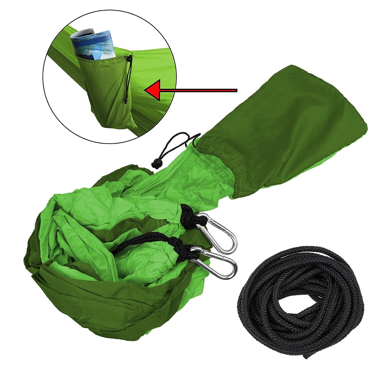BB Sport Hamaca Ultraligera de Nailon de paraca/ídas 265 x 140 cm Capacidad de Carga 300 kg Hamaca de Viaje Camping en Exteriores Color:Grey Stone
