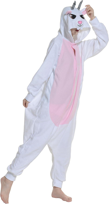 Fandecie Pijama Cabra, Onesie Modelo Animales para Adulto Entre 1,60 y 1,75 m Kugurumi Unisex.
