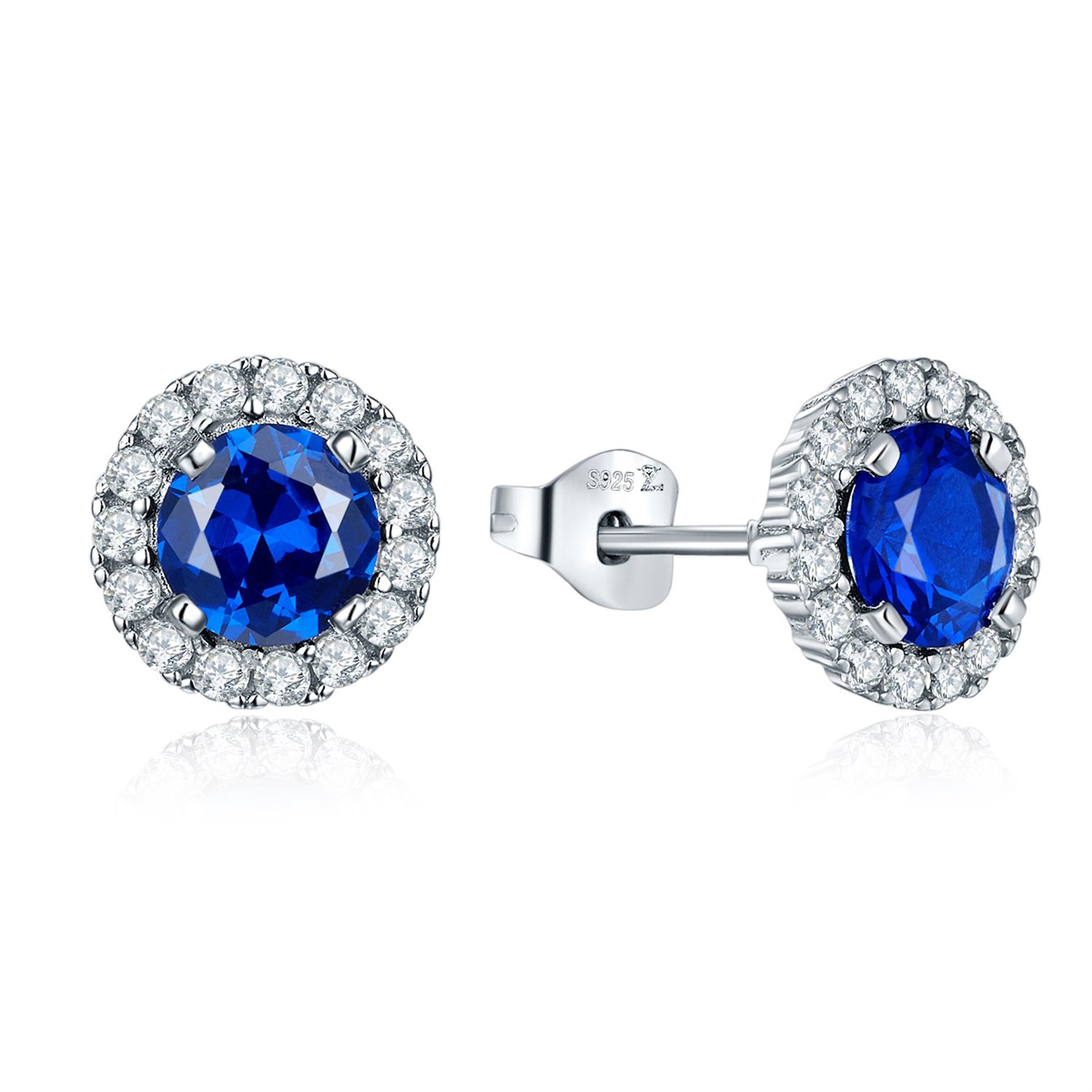 JO WISDOM 925 Sterling Silver Round Gemstone and Blue Created Sapphire Halo Stud Earrings