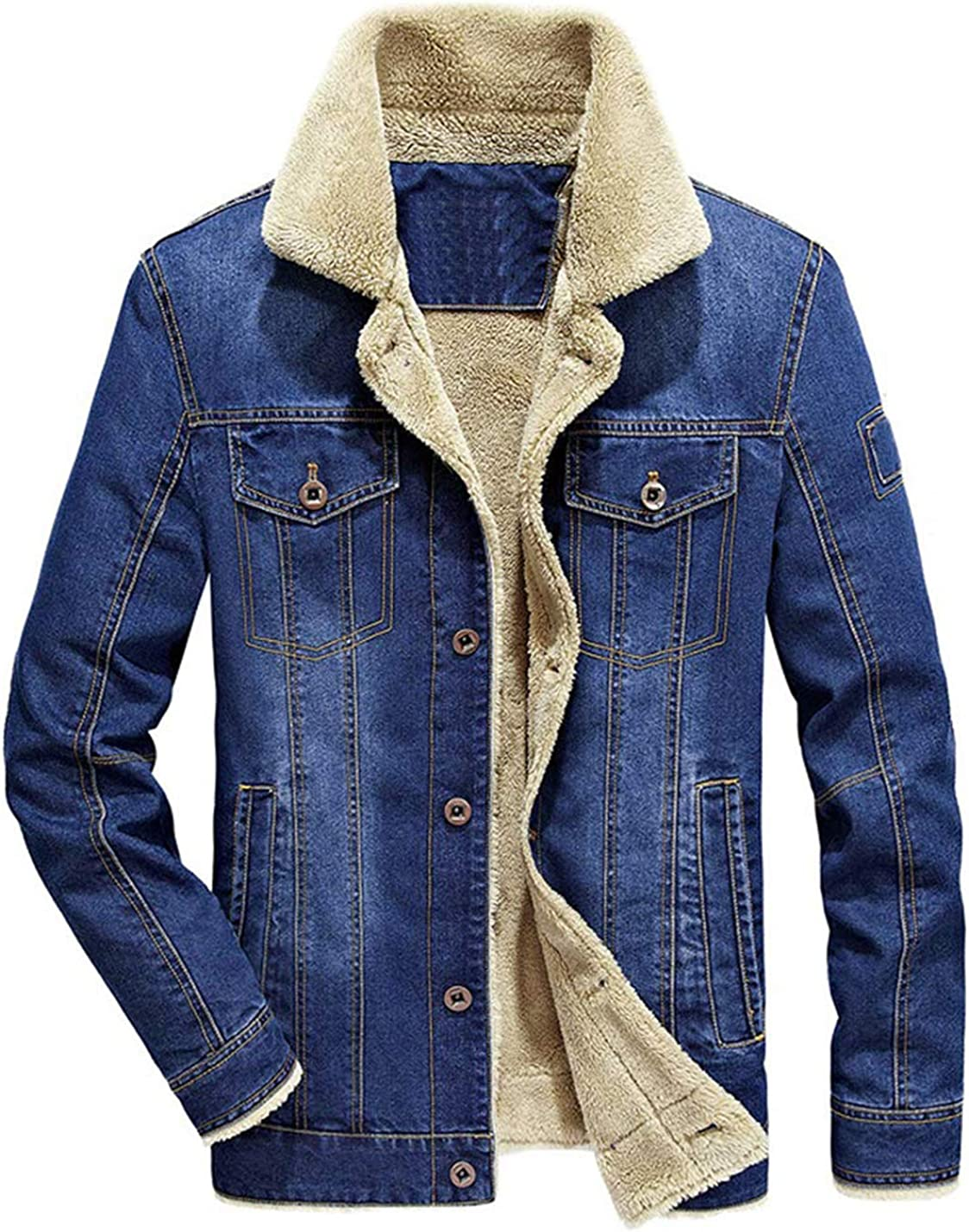 Omoone Mens Button Up Vintage Sherpa Fleece Lined Denim Biker Jacket Jean Coat